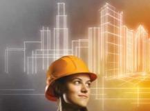 Croquis immeubles en arrière plan Femme casque chantier
